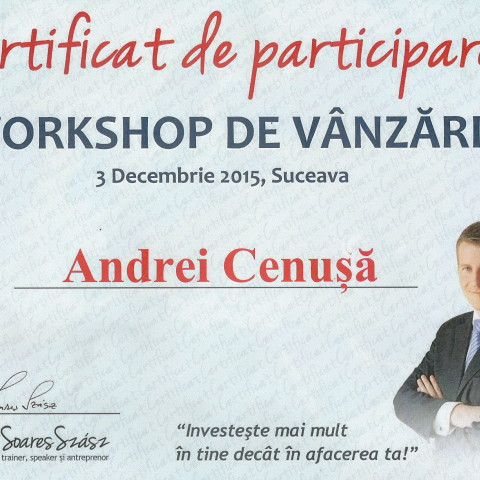 Certificat Workshop Vanzari Lorand