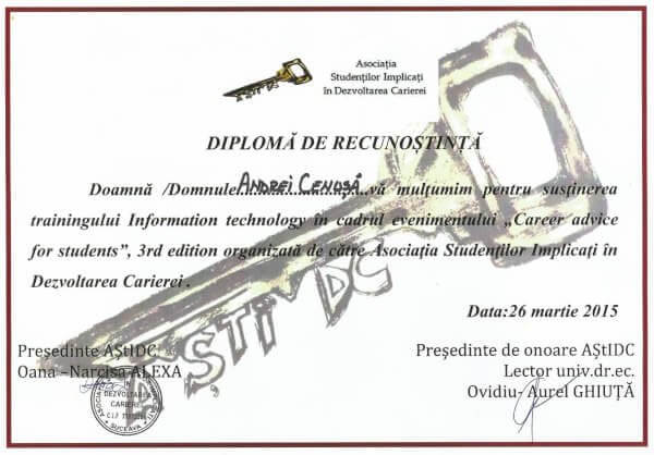 Diploma de Recunostinta - Career advice for Students