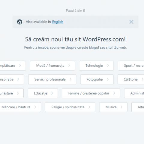 Pasul 2 crearea unui blog pe wordpress