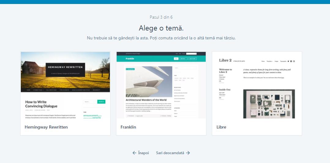 Pasul 4 crearea unui blog pe wordpress