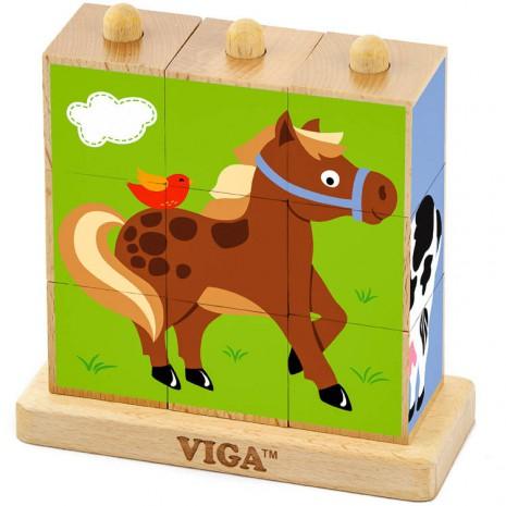 Cuburi animale din ferma montessori